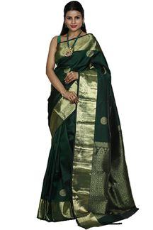 Picture of Arresting Bottle Green Colored kanjivaram Silk Saree