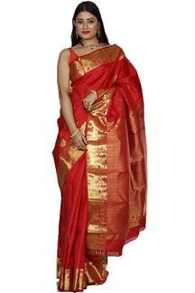 Picture of Breathtaking Red Colored Kanjivaram Silk Saree