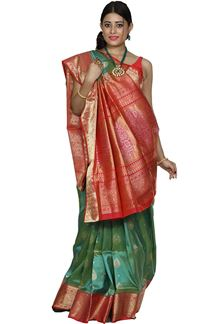 Picture of Green & Coral Colored Designer Dharmavaram Silk