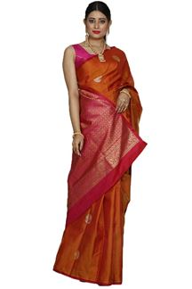 Picture of Ravishing Rust Colored Kanjivaram Silk Saree