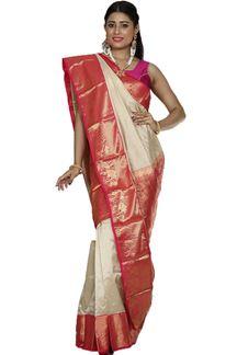 Picture of Attractive Beige & Pink Colored Kanjivaram Silk Saree