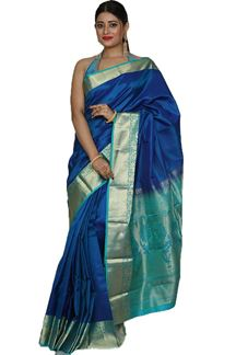 Picture of Pleasant Royal Blue Colored kanjivaram Silk Saree