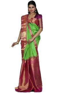 Picture of Blooming Green & Rani Colored Kanjivaram Silk Saree