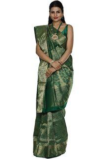 Picture of Pleasant Green Colored Brocade Silk Saree