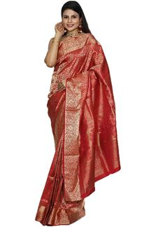 Picture of Ethnic Maroon Colored Brocade Silk Saree