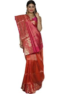 Picture of Flirty Orange & Pink Colored Brocade Silk Saree
