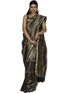 Picture of Unique Black colored Brocade Silk Saree