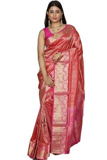 Picture of Glorious Pink Colored Brocade Silk Saree