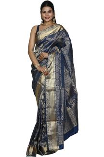 Picture of Refreshing Royal blue Colored Brocade Silk Saree