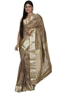 Picture of Pleasant Beige Colored Kanjivaram Silk Saree