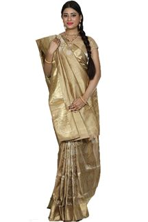 Picture of Charming Beige Colored Brocade Silk Saree