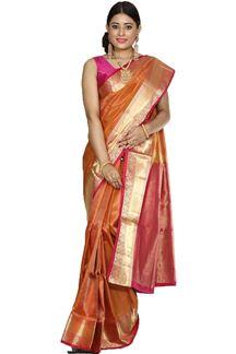 Picture of Ravishing Rust & Pink Colored Brocade Silk Saree