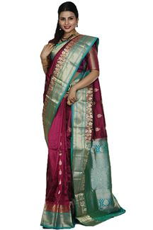 Picture of Breathtaking Dark Magenta Colored Kanjivaram Silk Saree