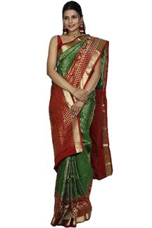 Picture of Adorable Green & Maroon Colored Brocade Silk Saree