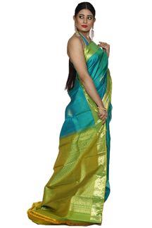 Picture of Pleasance Peacock & Mehendi Green Colored Kanjivaram Silk Saree