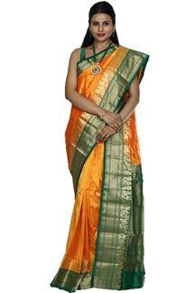 Picture of Gleaming Yellow & Green Colored Kanjivaram Silk Saree