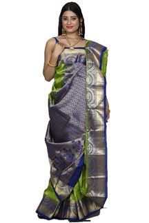 Picture of Pretty Green & Royal Blue Colored Kanjivaram Silk Saree