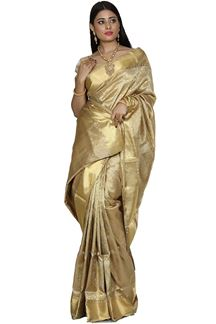 Picture of Stunning Beige Colored Brocade Silk Saree