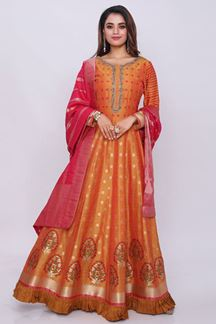 Picture of Appealing Orange Colored Designer Printed Anarkali Suit