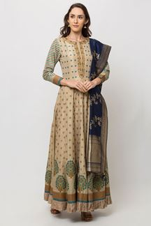 Picture of Arresting Beige Colored Designer Printed Anarkali Suit