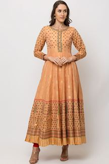 Picture of Preferable Orange Colored Designer Printed Anarkali Suit
