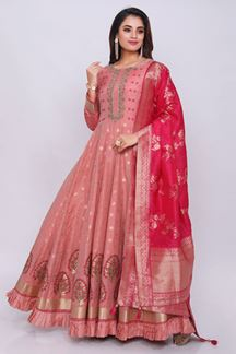 Picture of Mesmerizing Pink Colored Designer Printed Anarkali Suit