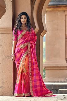 Picture of Blooming  Pink & Orange Color Silk Designer Saree