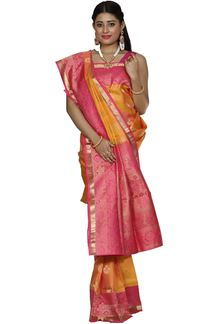 Picture of Yellow & Pink Colored Designer Dharmavaram Silk