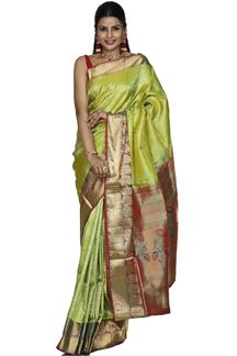 Picture of Refreshing Parrot Green & Maroon Colored Brocade Silk Saree
