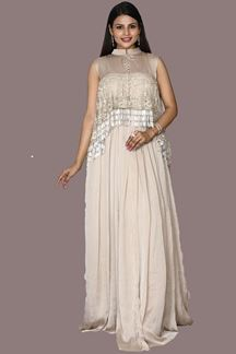 Picture of Beige Colored Designer Satin Silk Gown