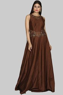 Picture of Marvellous Brown Colored Art Silk Gown
