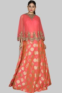 Picture of Capricious Tomato Red Colored Partywear Cape Style Gown