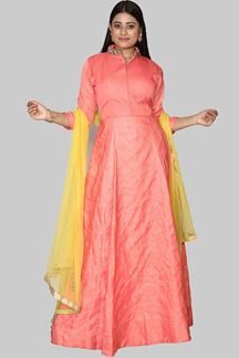 Picture of Appealing Peach Colored Art Silk Anarkali Suit