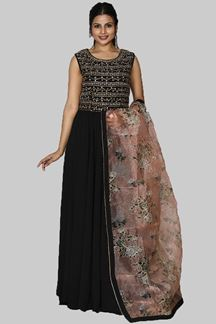 Picture of Stunning Black Colored Designer Georgette Anarkali Suit