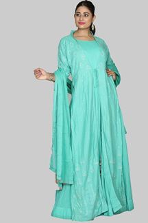 Picture of Beautiful Rama Green Colored Jacket Style Cotton Suit