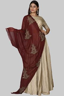 Picture of Intricate Golden Colored Art Silk Suit