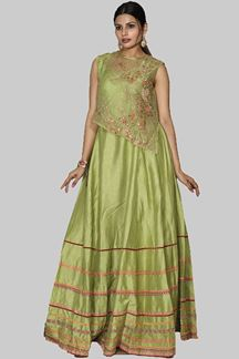 Picture of Green Colored Art Silk Cape Style Anarkali Suit