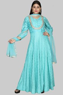 Picture of Rama Blue Colored Party Wear Designer Anarkali Suit