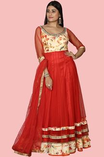 Picture of Breathtaking Red Colored Net Anarkali Suit