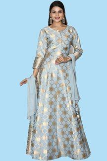 Picture of Elegant Grey Color Silk Printed Anarkali Suit