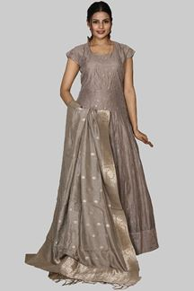 Picture of Smashing Grey Colored Floor length Anarkali Suit