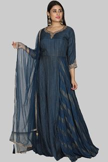 Picture of Fabulous Navy Blue Color Designer Art Silk Suit