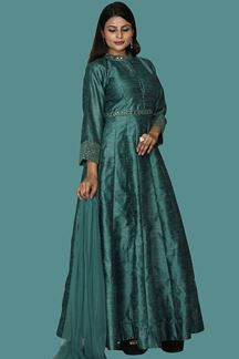 Picture of Art Silk Green Colored Anarkali Suit
