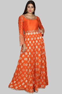 Picture of Orange Colored Brocade Silk Anarkali Suit