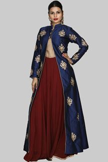 Picture of Charming Navy Blue Colored Anarkali Suit With Jacket