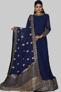 Picture of Navy Blue Colored Designer Georgette Anarkali Suit