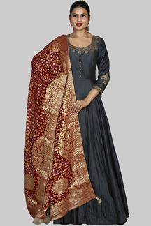 Picture of Sophisticated Grey Colored Art Silk Suit With Dupatta