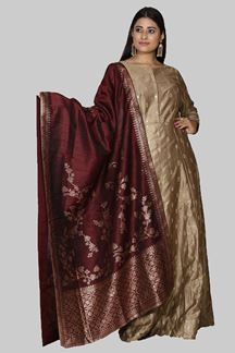 Picture of Impressive Golden Colored Silk Suit With Dupatta