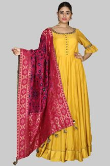 Picture of Yellow Colored Soft Silk Suit With Patola Silk Dupatta