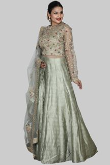 Picture of Captivating Green Color Raw Silk Floor Length Suit